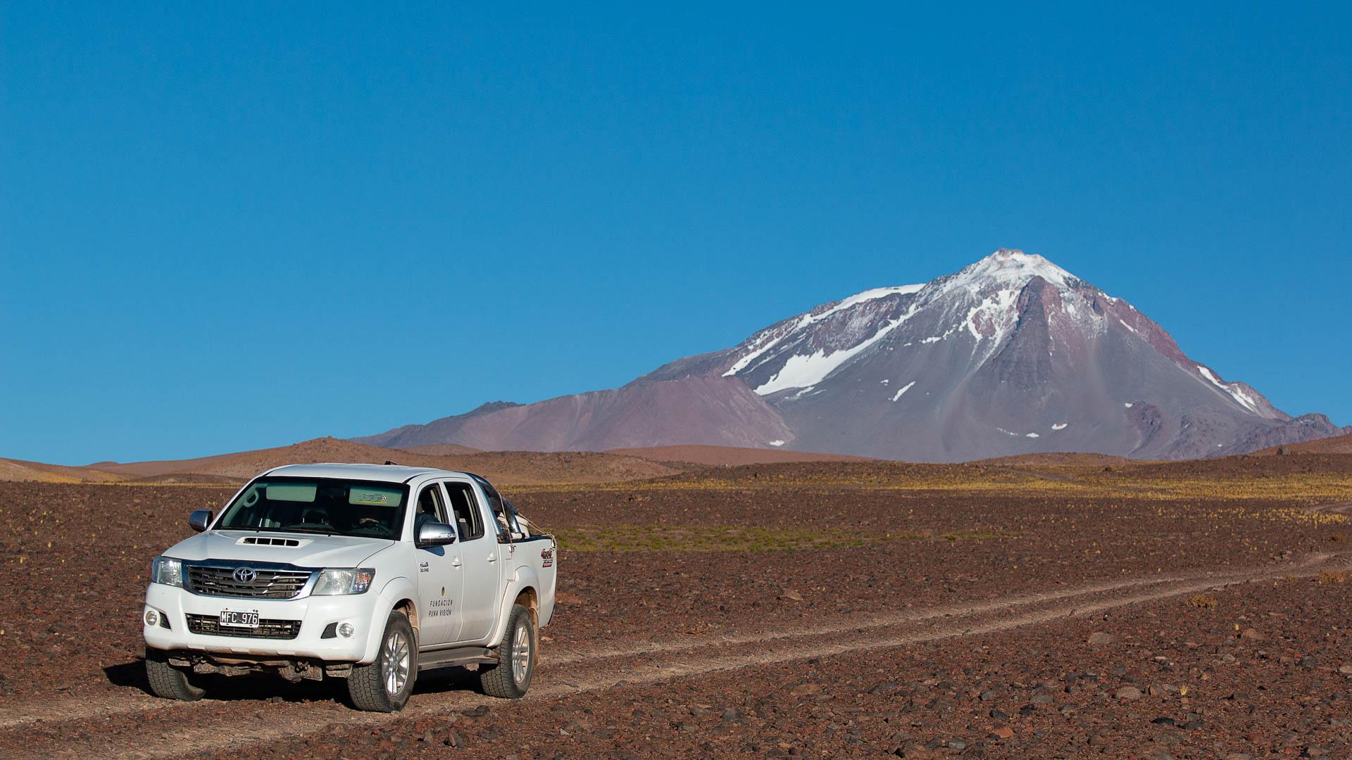Las cercanías del campamento de la fundación Puna Visión, en el volcán Llullaillaco.